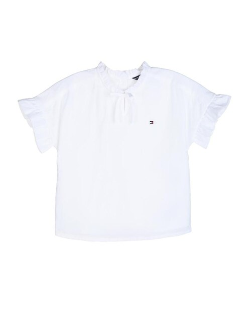 f3c6ced00d723 Blusa lisa Tommy Hilfiger de algodón para niña