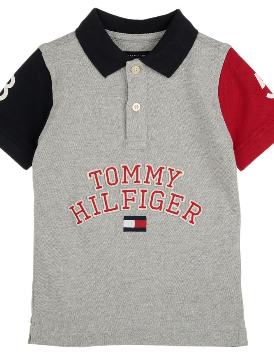 0d6d5267b4762 Playera tipo polo jaspeada Tommy Hilfiger algodón para niño ...